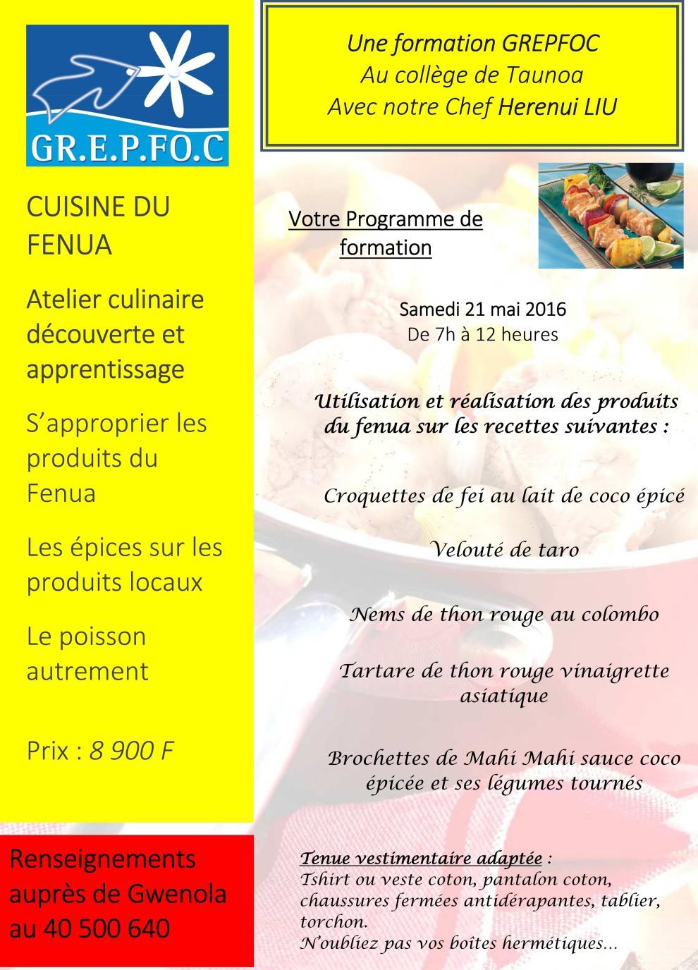 Cuisine du fenua groupement des etablissements de for Referentiel cap cuisine