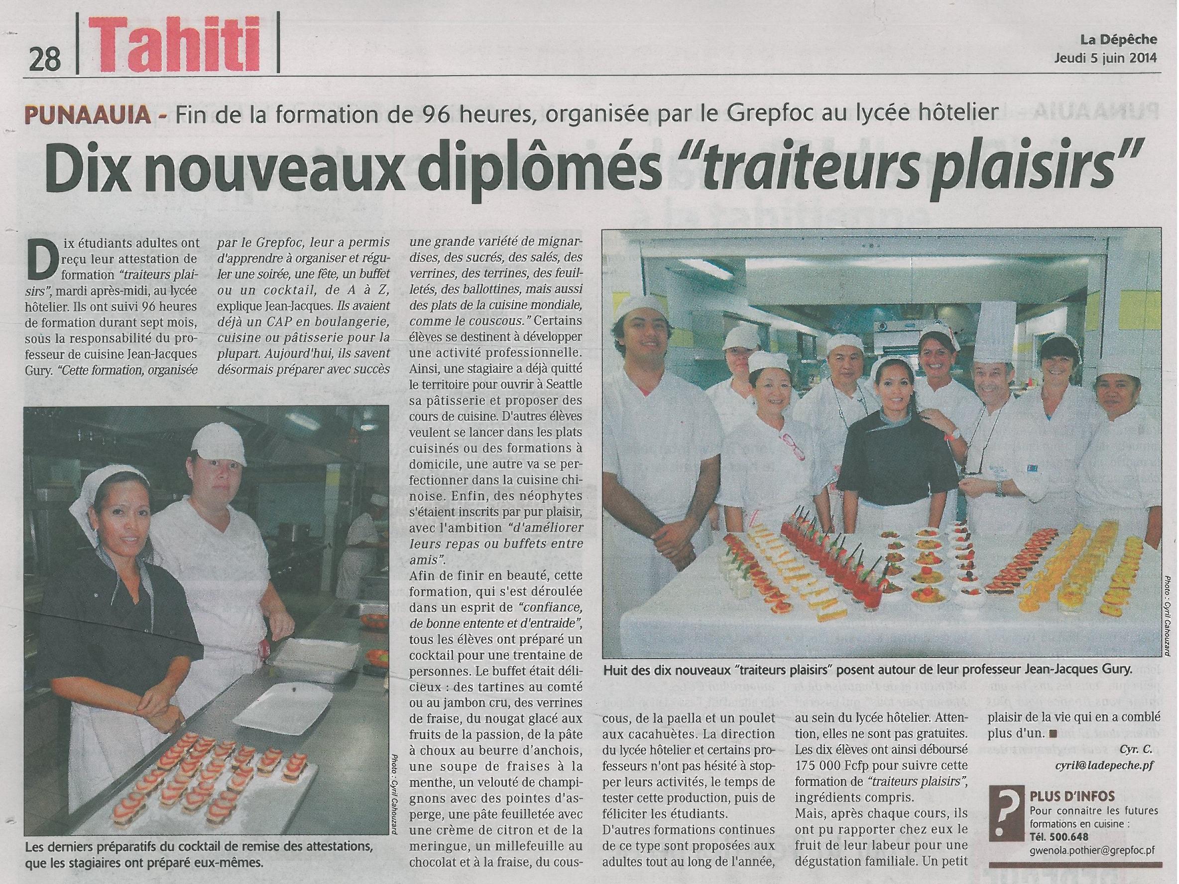 Cl ture de la formation traiteur plaisir groupement for Referentiel cap cuisine