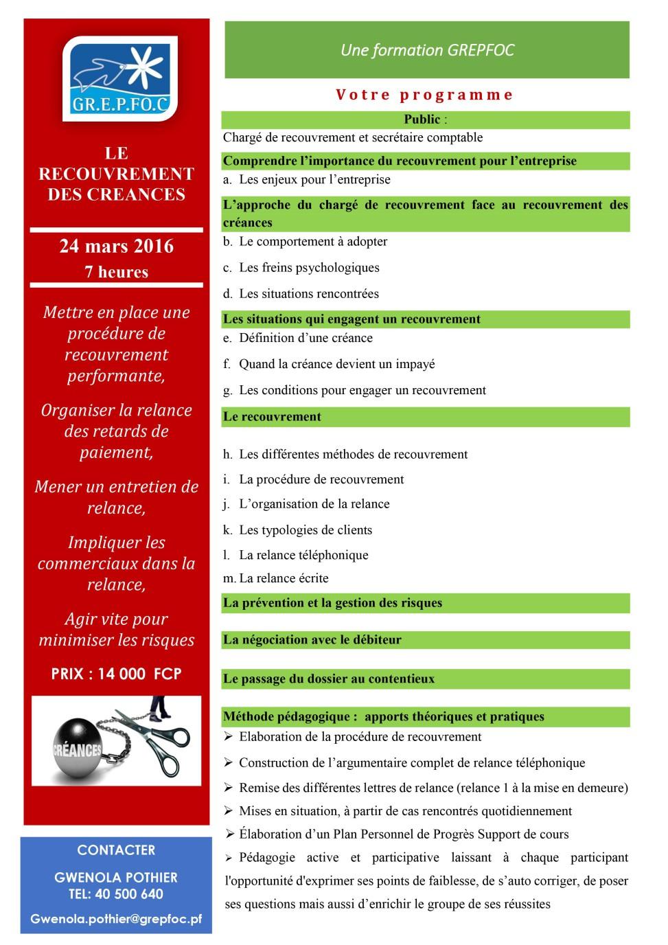 Formation recouvrement des cr ances groupement des for Referentiel cap cuisine