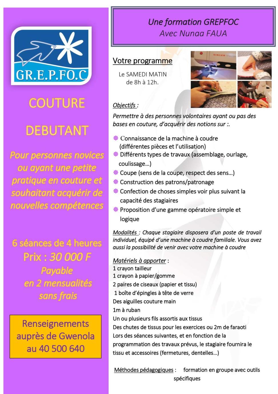 Formation couture d butant - Brevet professionnel cuisine ...